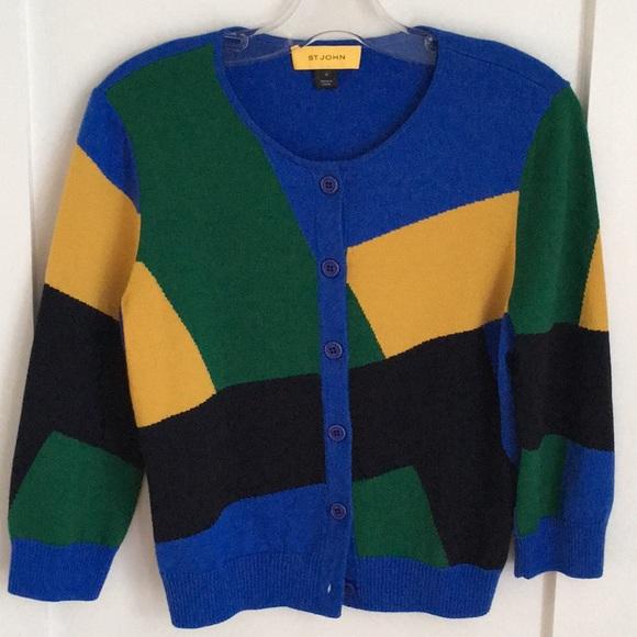 St. John Sweaters - St John Color Block Wool Cardigan Size M